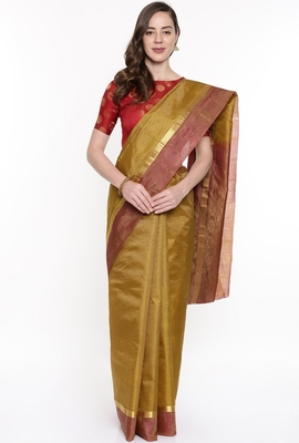 CLASSICATE From The House Of The Chennai Silks Mustard Dharmavaram Silk With Running Blouse