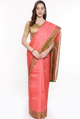 CLASSICATE From The House Of The Chennai Silks Peach Dharmavaram Silk With Running Blouse