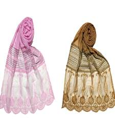 Stole For Women - Set Of 2- Premium Cotton Designer Diamond Studed Stole