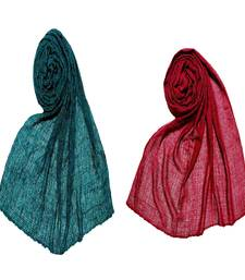 Stole For Women - Set Of 2- Premium Plain Cotton Crinckled Hijab