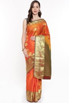 CLASSICATE From The House Of The Chennai Silks Orange Dharmavaram Silk With Running Blouse
