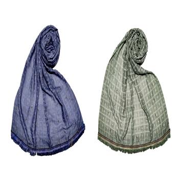 Stole For Women - Set Of 2- Cotton Box Checkered - Premium Golden Stone