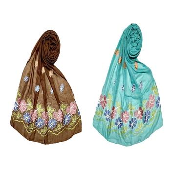 Stole For Women - Set Of 2- Premium Diamond Flower Cotton Hijab