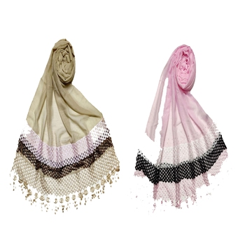 Stole For Women - Set Of 2- Premium Cotton Three Liner Bordered Stole