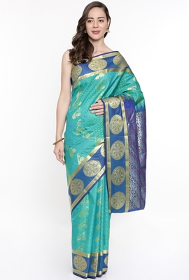 CLASSICATE From The House Of The Chennai Silks Green Dharmavaram Silk With Running Blouse
