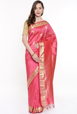 CLASSICATE From The House Of The Chennai Silks Pink Dharmavaram Silk With Running Blouse