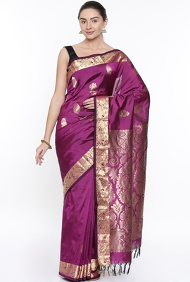 CLASSICATE From The House Of The Chennai Silks Purple Dharmavaram Silk With Running Blouse