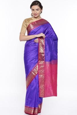 CLASSICATE From The House Of The Chennai Silks Blue Kanjivaram Silk With Running Blouse