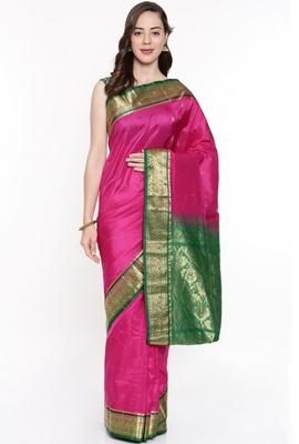 CLASSICATE From The House Of The Chennai Silks Purple Kanjivaram Silk With Running Blouse