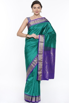 CLASSICATE From The House Of The Chennai Silks Green Kanjivaram Silk With Running Blouse