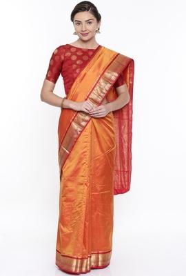 CLASSICATE From The House Of The Chennai Silks Orange Kanjivaram Silk With Running Blouse