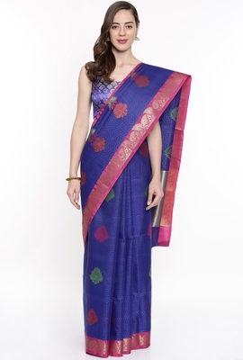 CLASSICATE From The House Of The Chennai Silks Blue Organza Saree With Running Blouse