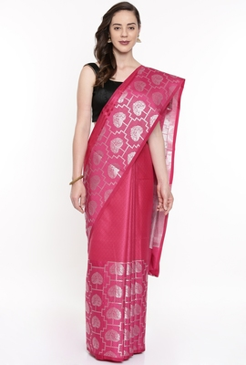 CLASSICATE From The House Of The Chennai Silks Pink Organza Saree With Running Blouse
