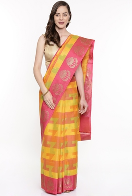CLASSICATE From The House Of The Chennai Silks Multicolor Organza Saree With Running Blouse