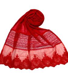 Red Premium Cotton Designer Diamond Studed Stole
