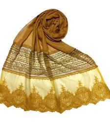 Yellow  Premium Cotton Designer Diamond Studed Stole