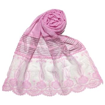 Pink  Premium Cotton Designer Diamond Studed Stole