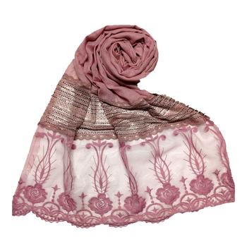 Purple  Premium Cotton Designer Diamond Studed Stole