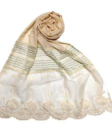 Cream  Premium Cotton Designer Diamond Studed Stole