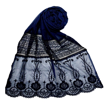 Blue Premium Cotton Designer Diamond Studed Stole