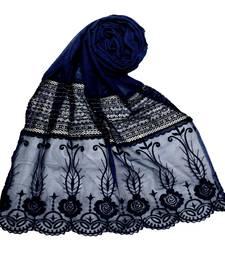 Blue Premium Cotton Designer Diamond Studed Stole