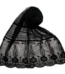 Black  Premium Cotton Designer Diamond Studed Stole