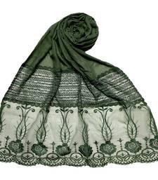 Green  Premium Cotton Designer Diamond Studed Stole