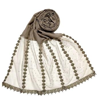 Brown  Designer Diamond Six Liner Flower Studed Stole