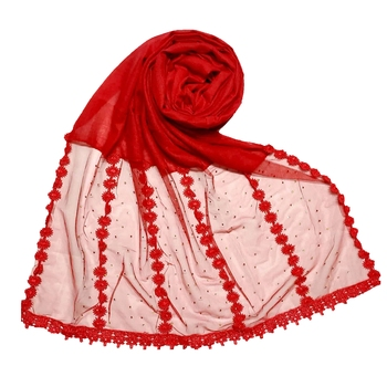 Red Designer Diamond Six Liner Flower Studed Stole