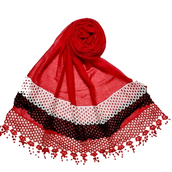 Red Premium Cotton Three Liner Bordered Stole