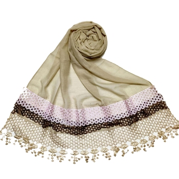 Brown  Premium Cotton Three Liner Bordered Stole
