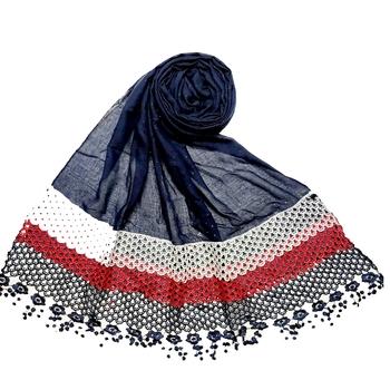 Blue  Premium Cotton Three Liner Bordered Stole
