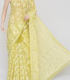 yellow Color Allover Heavy Palla Hand Embroidered Lucknowi Chikankari saree with blouse