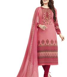 Pink & Red Printed Unstitched Salwar Suit Dress Material With Dupatta