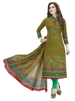 Mehndi Green & Green Printed Unstitched Salwar Suit Dress Material With Dupatta
