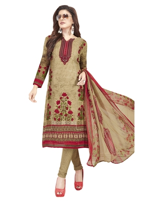 Beige Printed Unstitched Salwar Suit Dress Material With Dupatta
