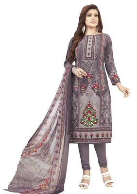 Purple Printed Unstitched Salwar Suit Dress Material With Dupatta