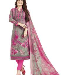 Grey & Pink Printed Unstitched Salwar Suit Dress Material With Dupatta