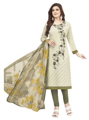 Off White & Olive Green Printed Unstitched Salwar Suit Dress Material With Dupatta