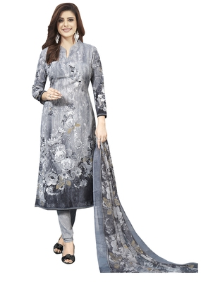 Grey Printed Unstitched Salwar Suit Dress Material With Dupatta