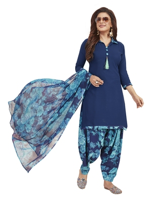 Navy Blue Printed Unstitched Salwar Suit Dress Material With Dupatta