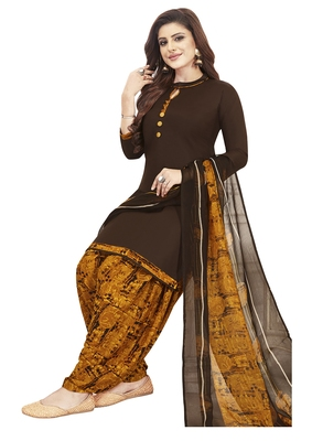 Brown & Mustard Printed Unstitched Salwar Suit Dress Material With Dupatta