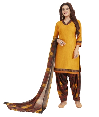 Mustard & Brown Printed Unstitched Salwar Suit Dress Material With Dupatta