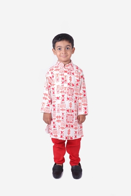Red and White Tribal Print Khadi Cotton Kurta with Red Churidar