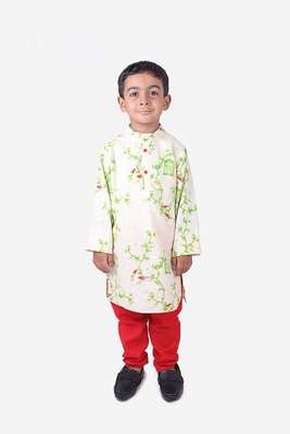 Green Creeper Plant with Red Birds Print Khadi Cotton Kurta with Red Churidar