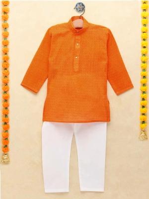 Orange printed cotton boys-kurta-pyjama