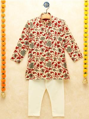 Multicolor printed cotton boys-kurta-pyjama