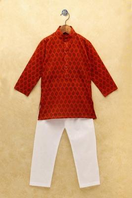 Maroon printed cotton boys-kurta-pyjama