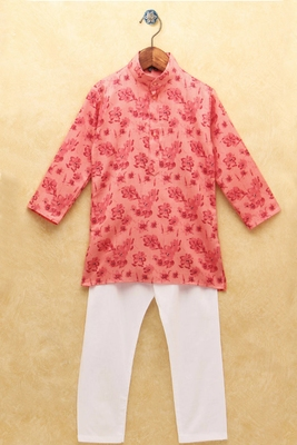 Pink printed cotton boys-kurta-pyjama