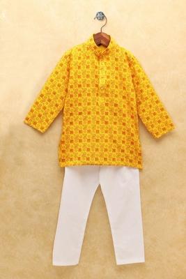 Yellow printed cotton boys-kurta-pyjama